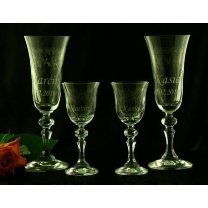 Kieliszki do szampana i wódki z grawerem komplet
