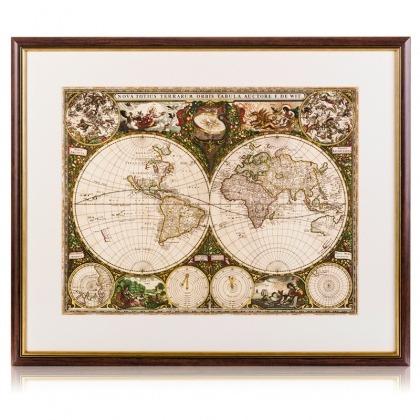 Reprodukcja mapy świata z 1660 roku