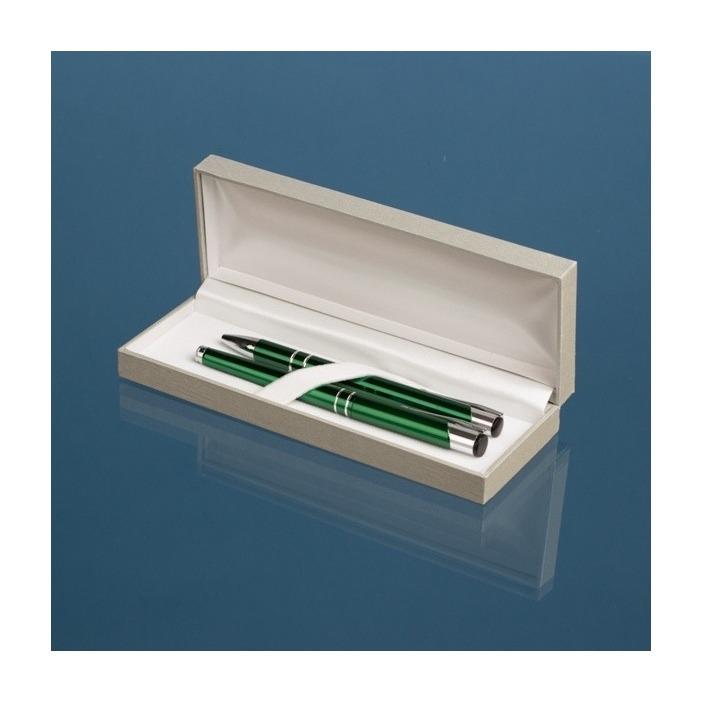 Długopis oraz pióro zielone z grawerem