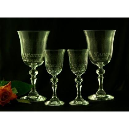 Grawerowane kieliszki do wina i wódki zestaw